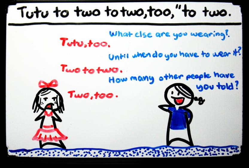 """Tutu to two to two,too"" to two."